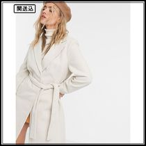 New Look belted formal coat in cream