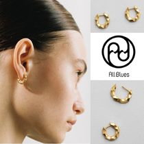 【All Blues】Almost earrings thin Carved ゴールドピアス ペア