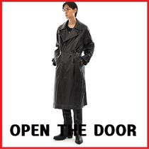 [OPEN THE DOOR]韓国の人気dual leather trench coat