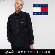 SALE【Tommy Jeans】ロゴ フリース シャツ ブラック / 送料無料