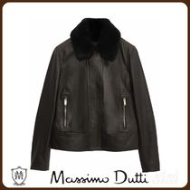 MassimoDutti♪BLACK JACKET WITH DETACHABLE MOUTON COLLAR