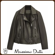 MassimoDutti♪BLACK LEATHER BIKER JACKET