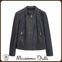 MassimoDutti♪NAVY BLUE NAPPA LEATHER JACKET