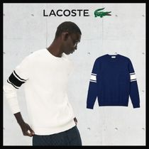 【LACOSTE】Striped Sleeves Crew Neck Sweater セーター