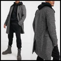 ASOS wool mix double breasted overcoat with faux fur collar