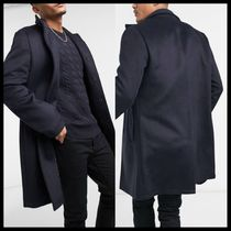 ASOS DESIGN wool mix overcoat with funnel neck in navy