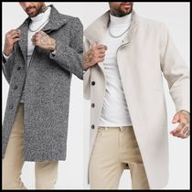 ASOS DESIGN wool mix overcoat with funnel neck