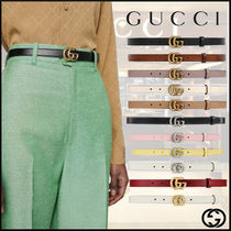 【GUCCI】Leather belt with Double G buckle レザーベルト