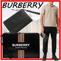 【BURBERRY】★Logo and Icon Stripe Print Coated Canvas POUCH