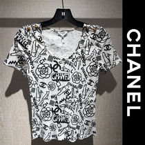 CHANEL▼【正規品】上品 カメリア & ロゴ 半袖 トップス