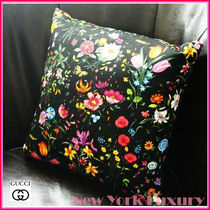 "GUCCI★素敵!FLORA floral Decorative Pillow 13"" Medium Black"