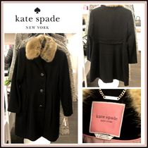 kate spade☆fit and flare coat ファー付ウールコート☆送料込
