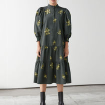 &other stories Wide Tiered Puff Sleeve Midi Dress