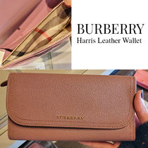 BURBERRY★Harris Leather Wallet ロゴ チェック柄 長財布