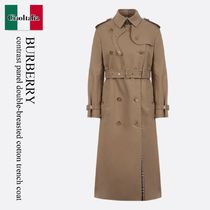 Burberry contrast panel double-breasted cotton trench coat