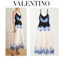 VALENTINO☆Appliqued sequin-embellished wool&silk gown