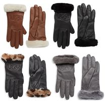 Sale!UGG Leather & Shearling Logo Gloves