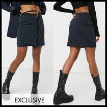 COLLUSION pinstripe skirt with dipped waist