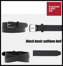 【8SECONDS】Black basic saffiano belt