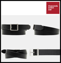 【8seconds】Black basic solid belt ★安全配送★