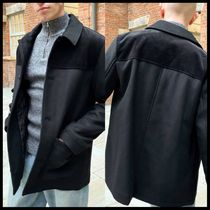 ASOS DESIGN wool mix overcoat with cord panel