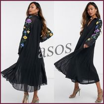 *ASOS*ASOS DESIGN embroidered sleevesプリーツミディドレス