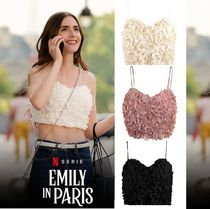 [The Naked Laundry] Petal Cami Crop Top- Cream/Pink