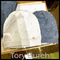 Outlet買付【Tory Burch】Pearl Cable Hat パールニット帽78585