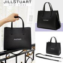 JILLSTUART NEWYORK★Black leather lettering medium tote bag