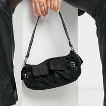 ASOS DESIGN nylon multi pocket 90s shoulder bag in black