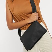 ASOS DESIGN black leather multi gusset cross body bag