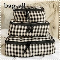 Bag all(バッグオール) トラベルポーチ 【bag-all】関送込 新作♪ PACKING CUBES CHECKERED LINEN