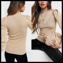 River Island frill neck jumper in brown