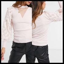 River Island feather sleeve knit jumper in light pink