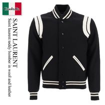 Saint laurent teddy bomber in wool and leather