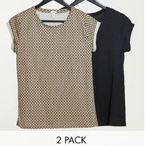 River Island 2 pack of t-shirts in monogram brown and black