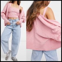 River Island cable knit cardigan and bralet set in pink