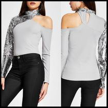River Island asymmetric sequin embellished top in grey