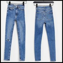 New Look fray hem ripped mid rise jean in blue