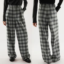 """COS"" RELAXED CHECKED RECYCLED WOOL TROUSERS NAVY/WHITE"