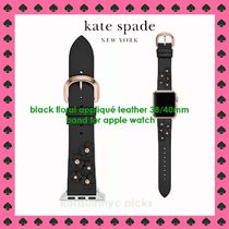 KATE SPADE*黒いお花の leather 38/40mm band for apple watch