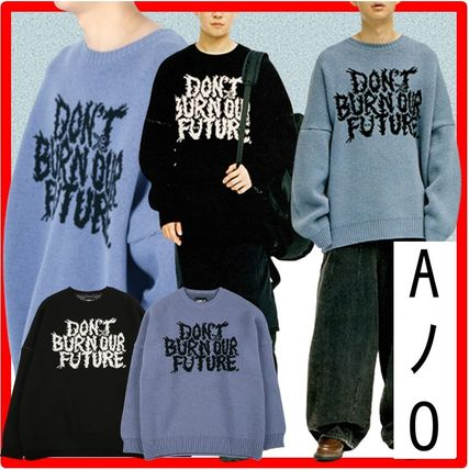 AJO AJOBYAJO ニット・セーター 【AJO AJOBYAJO】★Oversized Slogan Wool Knit Sweater★2色★