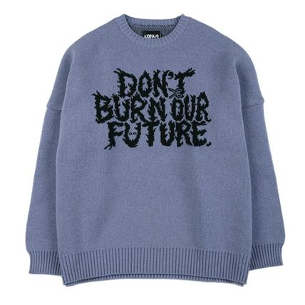 AJO AJOBYAJO ニット・セーター 【AJO AJOBYAJO】★Oversized Slogan Wool Knit Sweater★2色★(2)