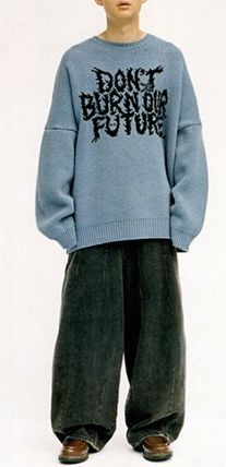 AJO AJOBYAJO ニット・セーター 【AJO AJOBYAJO】★Oversized Slogan Wool Knit Sweater★2色★(10)