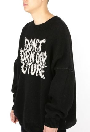 AJO AJOBYAJO ニット・セーター 【AJO AJOBYAJO】★Oversized Slogan Wool Knit Sweater★2色★(14)