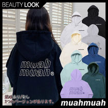 【muahmuah】Point Logo Double Napping Hoodie★ロゴ パーカー