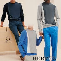 "21SS★HERMES ""Perspective Geometrique""ラウンドネックセーター"