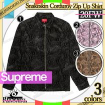 20FW /Supreme Snakeskin Corduroy Zip Up Shirt コーデュロイ