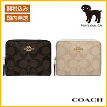 【COACH】Small Zip Around Wallet In Signature◆国内発送◆