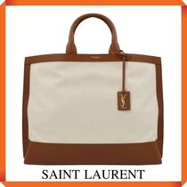 SAINT LAURENT SHOPPING TAG IN CANVAS AND LEATHER